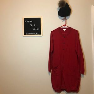 J Jill Red Duster Sweater